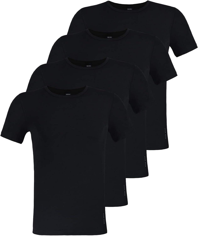 Girocollo 5 Canottiera Mezza Manica Medio Hugo Boss 4 Pacco Uomo Slim Fit T-Shirt Tinta Unita Nero