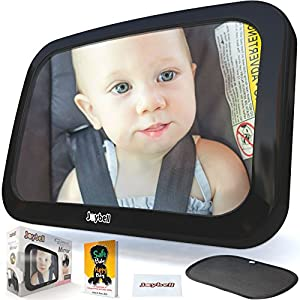 Baby Car Mirror for Rear Facing Carseat, That Clamps to Headrest Post – Crash Tested – Shatterproof – Large – Fully Adjustable – Side Window Shade, Cleaning Cloth and Babyproofing eBook
