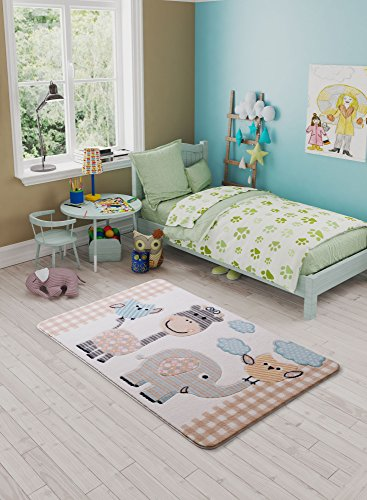 Flower Blue Giraffe Shower (LaModaHome Carpet/Runner 100% Polyamide (52.4