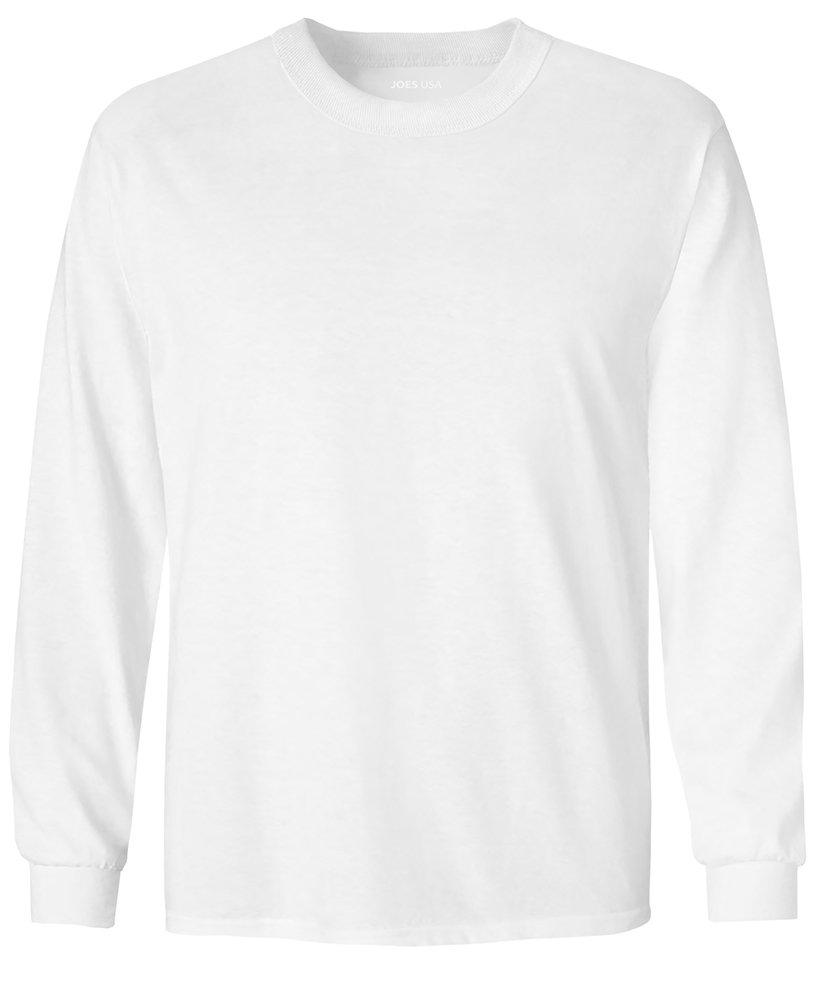 Joe's USA Youth Long Sleeve Core Cotton Tee Youth-L-White