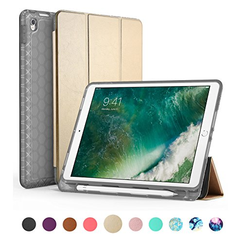 SWEES Compatible for iPad Pro 10.5 Case, Slim Full Body Protective Smart Cover Leather Case Rugged Shockproof with Stand Built-in Apple Pencil Holder Compatible iPad Pro 10.5 inch, Gold