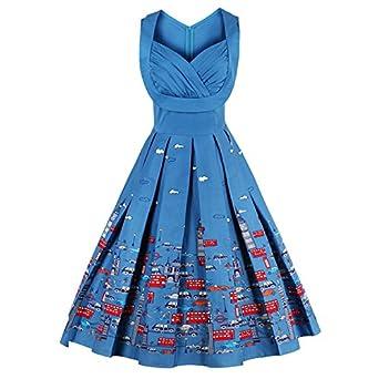 Amazon.com: Shelchell fashion NEW vintage dresses floral print ...