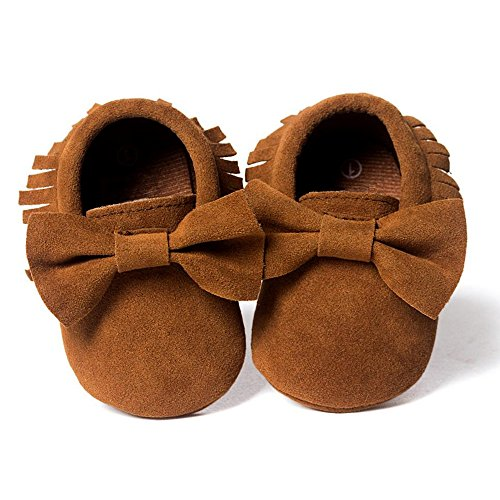 Royal Victory Unisex Baby Boys Girls Prewalker Bow Mocassins Soft Sole Tassels Toddler Shoes 11 Colors (11cm(0-6 Months), Suede Dark Brown)