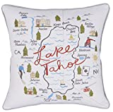 "DecorHouzz Pillow Covers State/City Map Pillowcase embroidered cushion cover Birthday Gift Anniversary Gift Graduation Gift New home Gift 18""x18"" (Lake Tahoe)"