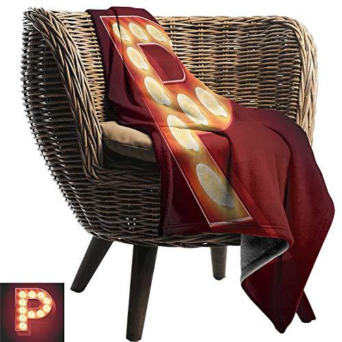 WinfreyDecor Letter P Warm Blanket Vibrant P Letter