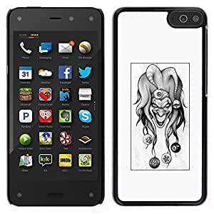 Caucho caso de Shell duro de la cubierta de accesorios de protección BY RAYDREAMMM - Amazon Fire Phone - Evil Joker B & W