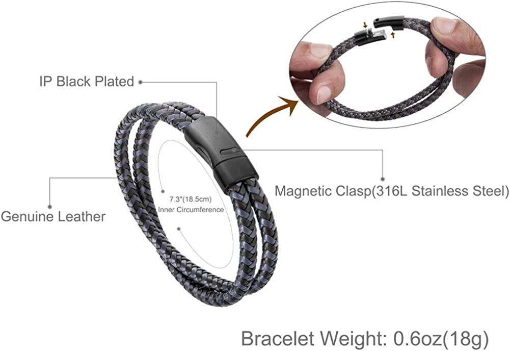 Pulsera magnética brazalete pulsera enrollada suerte cuero cuero pastel-malla monocromo