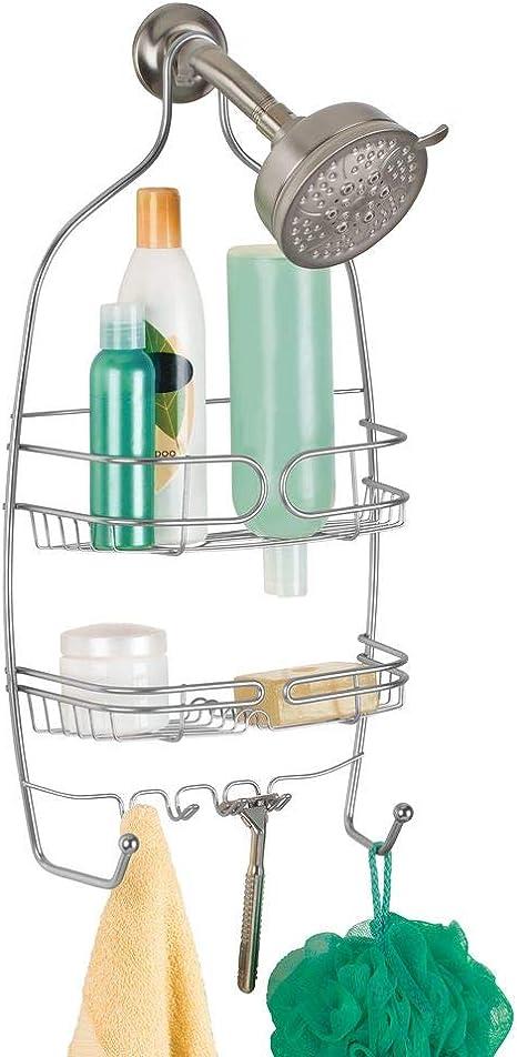 iDesign Neo Estantes para ducha, estantería colgante de metal con dos cestas para champú y gel y ganchos para manoplas y maquinillas, plateado