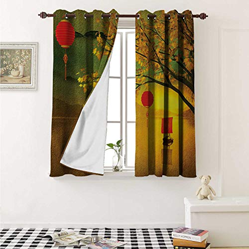 Lantern Waterproof Window Curtain Traditional Chinese Lanterns Hanging from Pale Fall Trees Lake Faded Nature Photo Curtains for Party Decoration W84 x L72 Inch Multicolor