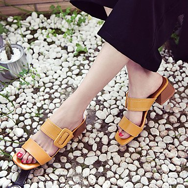 LvYuan Mujer Sandalias PU Primavera Verano Tacón Robusto Beige Amarillo 5 - 7 cms beige