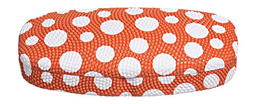 Hard Eyeglass Case, Glasses Holder For Women, Men, Girls, Boys- Polka Dot, (Orange Hard Case)