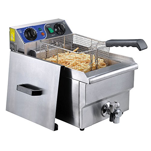 Yescom Commercial Professional Electric 11.7L Deep Fryer Timer and Drain Stainless Steel French Fry Restaurant Kitchen