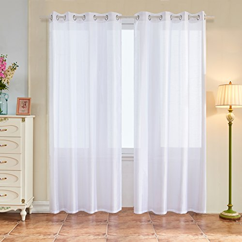 Subrtex 2 Panels Faux Silk Semi-Sheer Window Elegance Curtains/drape/panels/treatment and Solid Grommets for Bedroom(52'' x 84'', White) (Sheer Semi Panel)