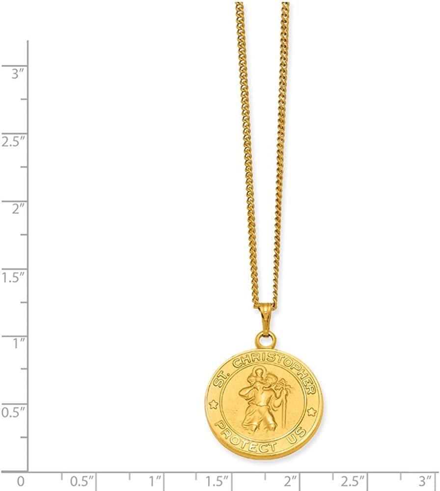 Saint Christopher Necklace Gold Cross Necklace St Traveling Pendant Dainty Catholic Medallion 14kt Gold Fill Necklace Religious Jewelry