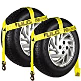 Vulcan Yellow Classic Bonnet Style Wheel Lift Harnesses Snap Hooks 2 Pack