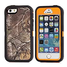 "iPhone 5 5S SE Case, Heavy Duty Tree Camo Defender Series Full-body Protective Hybrid 3-piece Cover Built-in Screen Protector Case for Apple iPhone 5/5S/SE 4"" (Orange Tree Camo)"