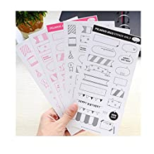 JXULE Calendar Photo Paper Sticker Scrapbook Diary Planner Decor(pack of 6)