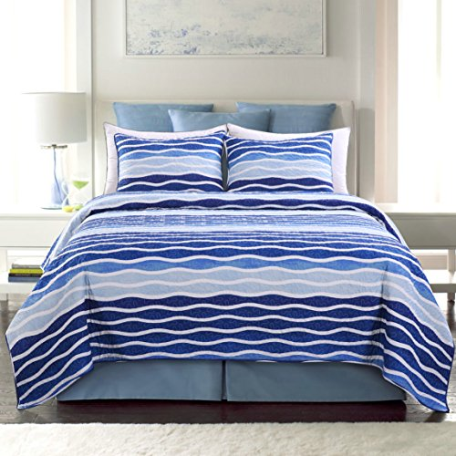 SLPR Blue Wave 3-Piece Lightweight Printed Quilt Set (Queen) | with 2 Shams Pre-Washed All-Season Machine Washable Bedspread Coverlet