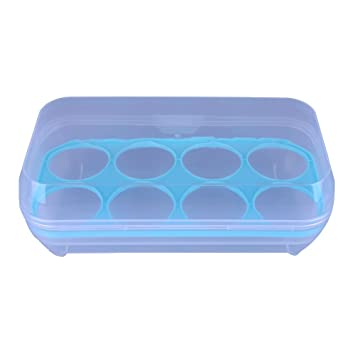 demiawaking 8 huevos caja de almacenamiento con tapas, recipientes cocina hermético huevo frigorífico organizador caja soporte azul: Amazon.es: Hogar