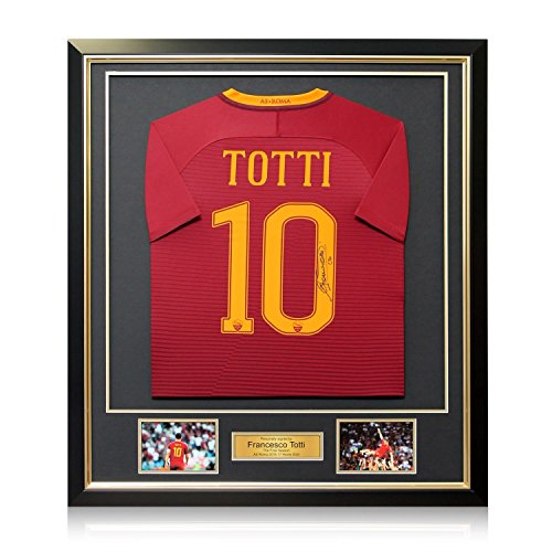 (Francesco Totti Signed AS Roma 2016-17 Home Jersey: The Final Season In Deluxe Black Frame With Gold Inlay)