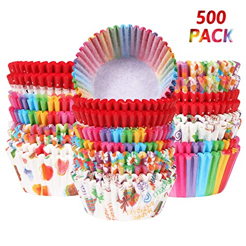 500 Pack Cupcake Liner Paper Baking Cups for Christmas Party Holiday Birthday Cupcake Wrappers for Cake Balls Muffins Cupcakes and Candies by Aooba