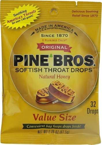 Pine Bros Softish Throat Drops Natural Honey 32 Count (Pack of 6) (Best Cough Drops For Bronchitis)