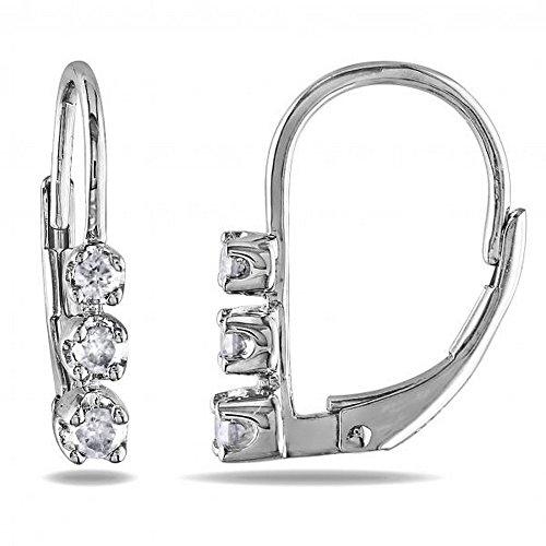 - Ladies Graduated 3 Stone Diamond Huggie Leverback Earrings, Prong Set in Sterling Silver 0.25ct