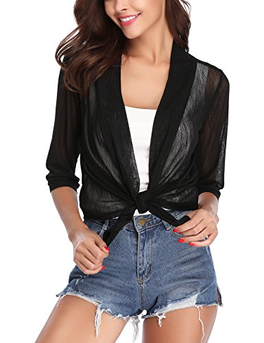 (iClosam Womens Tie Front 3/4 Sleeve Sheer Shrug Cropped Bolero Cardigan Black)