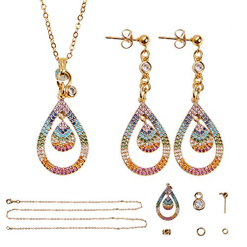 SUNNYCLUE DIY 1 Set Fashion Micro Pave Cubic Zirconia Teardrop Jewelry Set 24