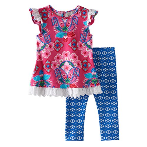 Rare Editions Counting Daisies Pink Floral Capri Set (12m-4t) (4t)