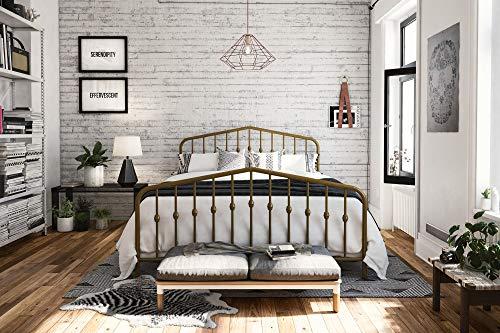Novogratz Bushwick Metal Bed, Modern Design, Full Size - Gold (Brass Full Size Footboard)