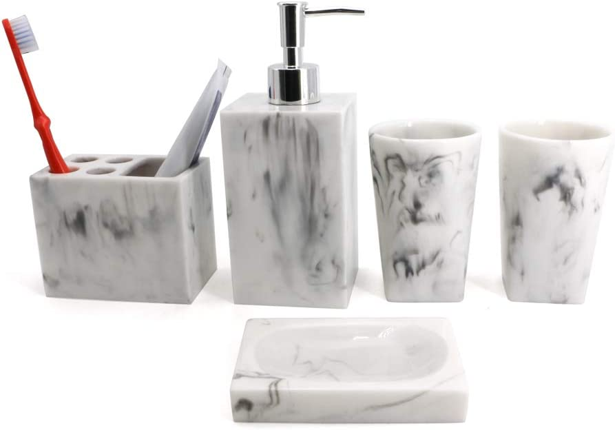 Bathroom Accessory Set with Tumbler, Soap Dish, Liquid Soap Dispenser, Toothbrush Holder,Grey