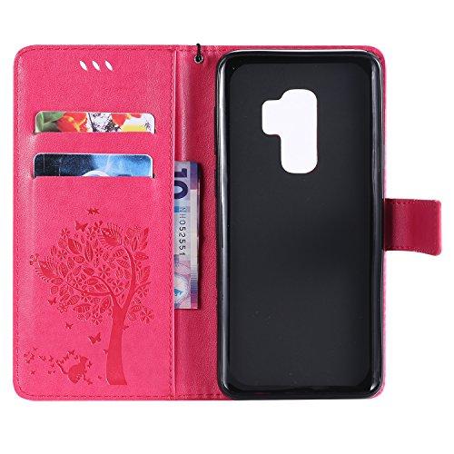 Galaxy S9 Hülle,Samsung Galaxy S9 Wallet Flip Hülle,Artfeel Stilvoll Geprägtes Muster Tasche,[Magnetverschluss] [Standfunktion] Leder Brieftasche Stoßfest Schutzhülle mit [Handschlaufe] Kredit Kartenf Rose