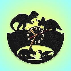 Wood Dinosaurs Battle Wall clock, Wooden Clock 12inch(30cm), Tyrannosaurus, Triceratops, T-Rex (Wood Handpainted Black clock)