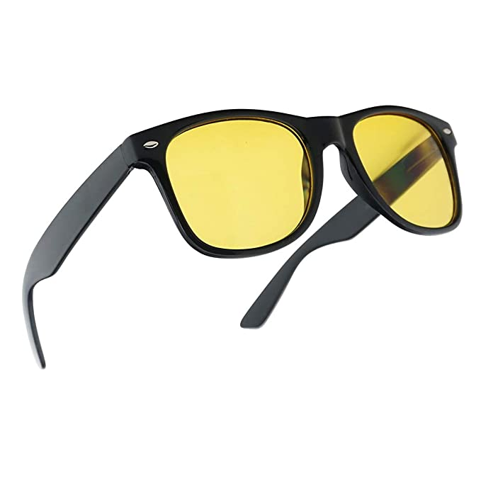 4344c3da610 Image Unavailable. Image not available for. Color  HD Night Vision Driving  80s Yellow POLARIZED Lens Style Sunglasses