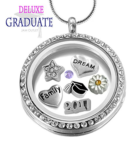 Crystal Sterling Silver Keychain (2017 CRYSTAL Graduation Memory Locket Pendant Set, FAMILY Floating Charms, Sterling Plated Necklace, Gift Box)