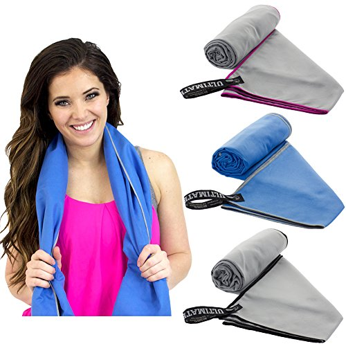 ULTIMATE TOWELS Travel Towel Super Absorbent Quick Drying Microfiber Towel for Camping, Beach, Pool, Gym, or Swimming