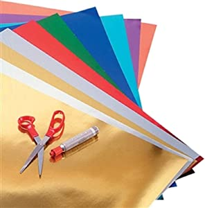 """Hygloss Products Metallic Foil Board Sheets for Arts & Crafts, Classroom Activities & Artists-20"""" x 26"""" -5 Colors-50, 50, 10 Assorted Colors"""