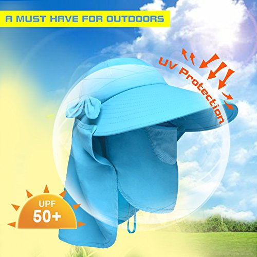 Amazon.com  Lenikis Women s UPF50+ Sun Visor Foldable Wide Brimmed UV  Protection Hat with Detachable Flaps Blue  Clothing 734555881009