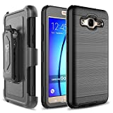 Galaxy J3 Case, Galaxy Sky Case, J3 V / Amp Prime / Express Prime / Galaxy Sol Case, NageBee [Brushed Metal Texture] Heavy Duty Full-Body Rugged Holster Armor [Belt Clip][Kickstand] - Black