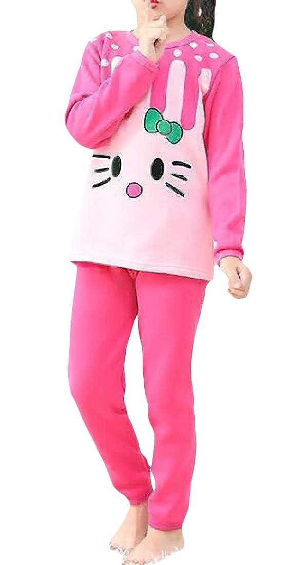 Macondoo Girls Warm Sleep Round-Neck Top Print Fleece 2 Pieces Pajama Sets