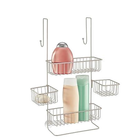 mDesign Over Door Shower Caddy - Toiletry Storage Shelves - Hanging ...