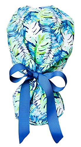 Tropical Ponytail Scrub Cap for Women with Blue Ribbon