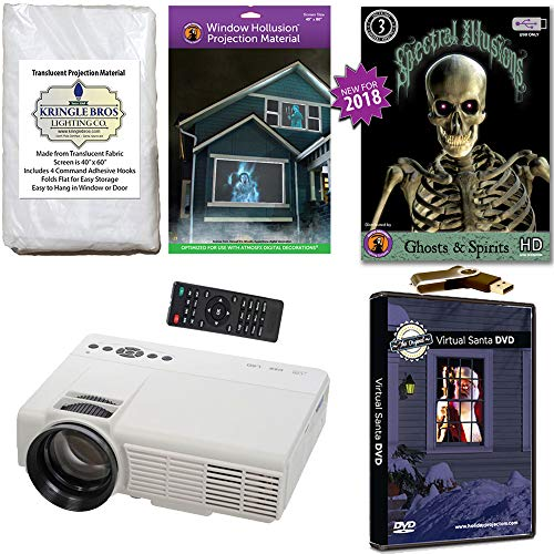 Christmas and Halloween Digital Decoration Kit Includes 800 x 480 Resolution Projector, Hollusion (W) + Kringle Bros Rear Projection Screens, Santa in Window and Ghosts & Spirits -