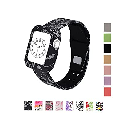 MLQSS Soft Silicone Shockproof Rugged Watch Band with Protective Case for Apple Watch 38mm 42mm,Sport Style Strap Bands Wristband for iWatch Series 1 Series 2 Sport Edition