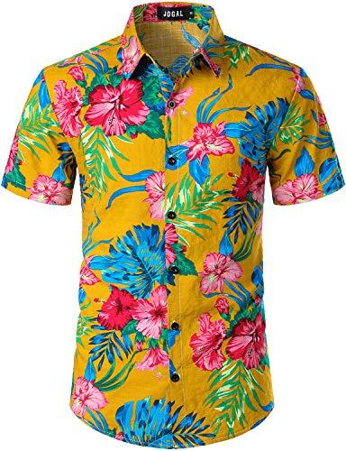 JOGAL Men's Flower Casual Button Down Short Sleeve Hawaiian Shirt Small A334 Ginger ()