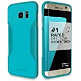 Galaxy S7 Edge Case, Teal SaharaCase Samsung Protective Kit [Bonus Tempered Glass Screen Protector] Rugged Shock-Absorption TPU Rubber Bumper [Premium Finish] Hard Plastic Frame Slim Design (Oasis)