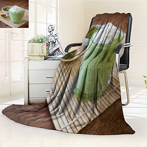 - 300 GSM Fleece Blanket green tea smoothie blended beverage with whipped cream matcha powder and spoon Super Soft Warm Fuzzy Lightweight Bed or Couch Blanket(60