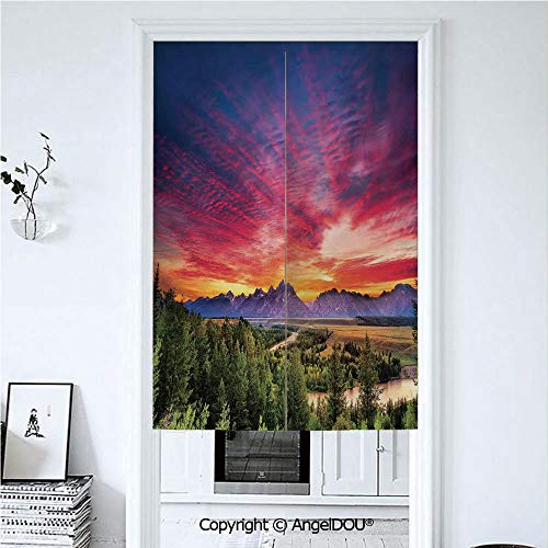 AngelDOU Landscape Japanese Noren Half Open Cotton Linen Door Curtain Colorful Skyline with Clouds in The Forest Lake River Mountain Landscape Sunburst Hanging Doorway Drape Valance 39.3x59 inches