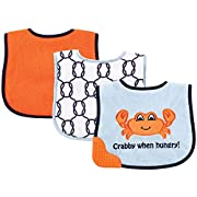 Luvable Friends 3 Piece Feeder Bibs with Teether Bib, Crab